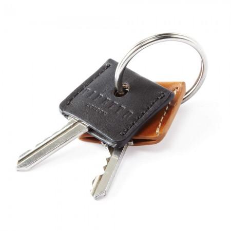 Key Cover Set - Tan Black Leather Key Ring