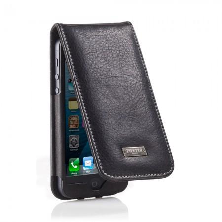 Black Leather iPhone 5 Flip Case
