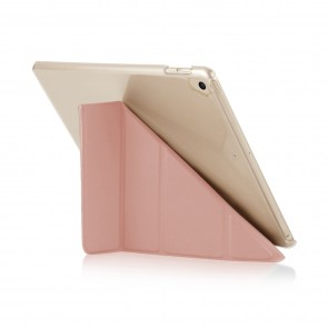 Pipetto 9.7-inch 2017 iPad Origami Luxe Dusty Pink and Clear Case - back exterior