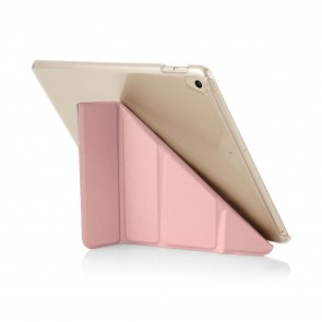 Pipetto 9.7-inch 2017 iPad Origami Metallic Rose Gold and Clear Case - back exterior