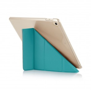 Pipetto 9.7-inch 2017 iPad Origami Luxe Turquoise and Clear Case - back exterior