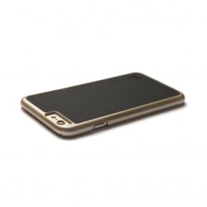 iPhone 6 / iPhone 6S Saffiano Snap Case - Black Saffiano & Champagne Gold Shell