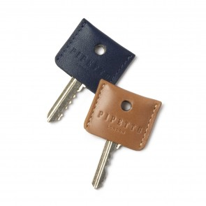 Key Cover Set - Tan Navy Leather  (2 per set)