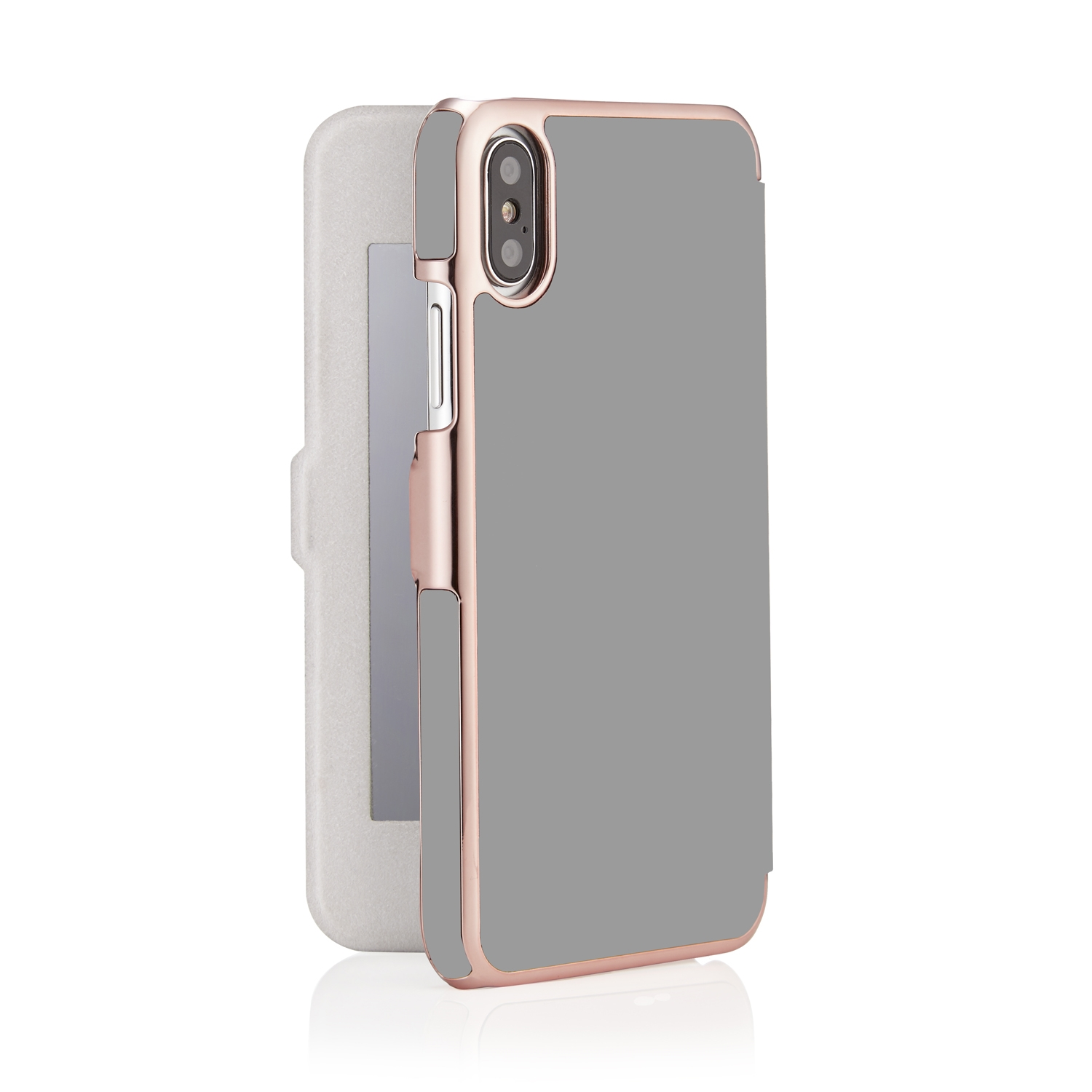 Iphone X Grey Rose Gold Leather Slim Wallet Case Magnetic With 1