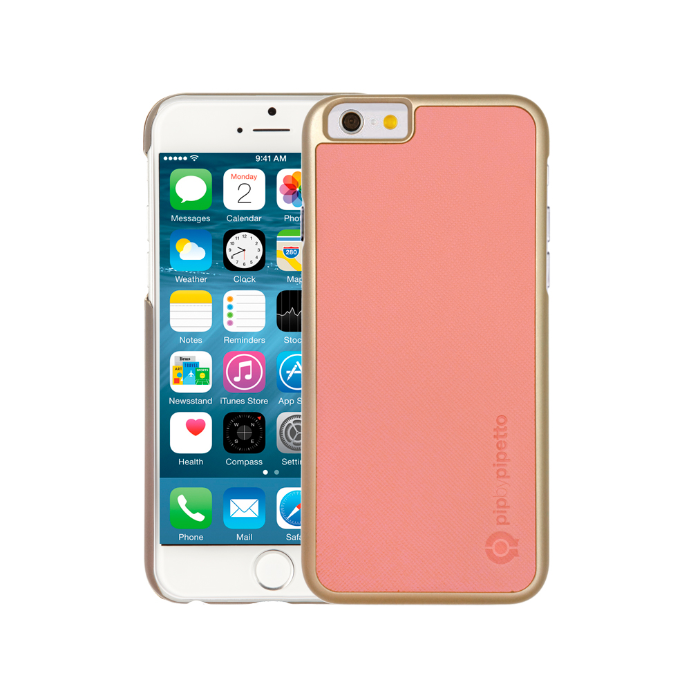 Vanity Light Iphone 6 Case : iPhone 6 / iPhone 6S Saffiano Snap Case - Light Pink Saffiano & Champagne Gold Shell